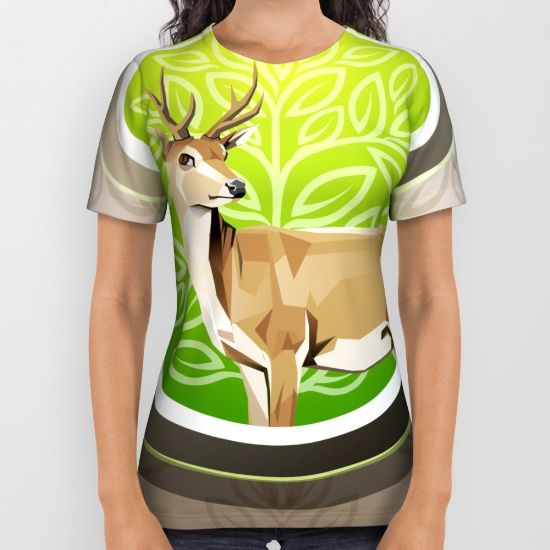 Illustration modification deer shape, with a square style and modification of trees or natura All Over Print Shirt