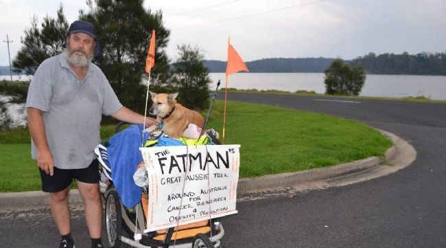 Brendan Alsop made the decision in February 2013 to walk around Australia with his faithful dog, Jojo, in a bid to not only help himself lose weight but also raise funds for world-class cancer research! Currently he has walked over 1,000km. #inspirational #support #cancerresearch #amazing #fightingcancer