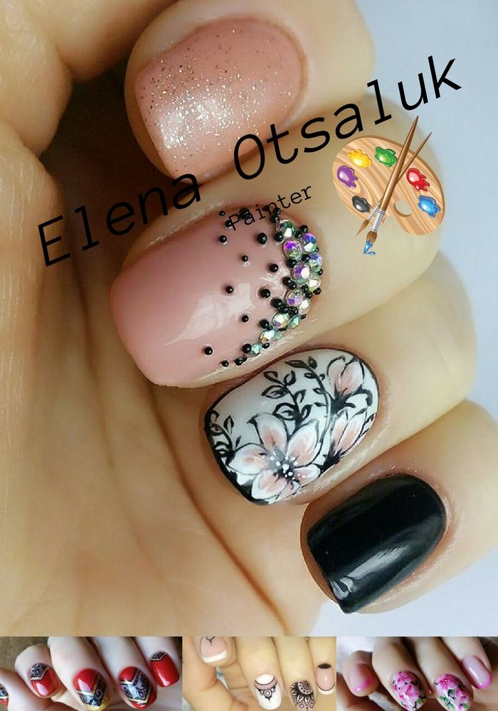 "The original ""floral"" nail art came into fashion a few years ago. Masters of manicure developed a lot of techniques for applying patterns on the nail plate. Pink black manicure with floral motifs complemented with rhinestone and bouillon."