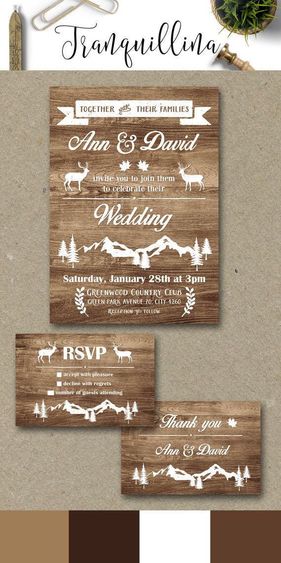 tie the knot wedding invitations etsy%0A Rustic Wedding Invitation Printable  Fall Winter Wedding Invitation  Deer Wedding  Invitation  Mountain Wedding Invitation Printable