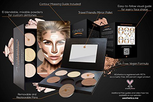 Amazon Hot Sales : Aesthetica Cosmetics Contour and Highlighting Powder Foundation Palette / Contouring Makeup Kit; Easy-to-Follow, Step-by-Step Instructions Included