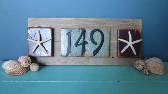 Recycled Nautical House Numbers Starfish Upcycled  Seashore Decor Ocean Decor Seastar Beach Decor Purple Light Blue Wood Black Numbers Sign on Etsy, $54.00