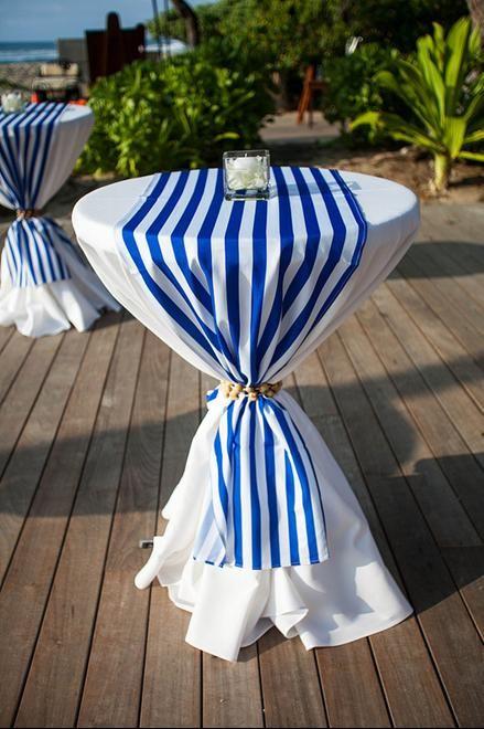 Underlay   White; Overlay   Blue Stripe Table Runner