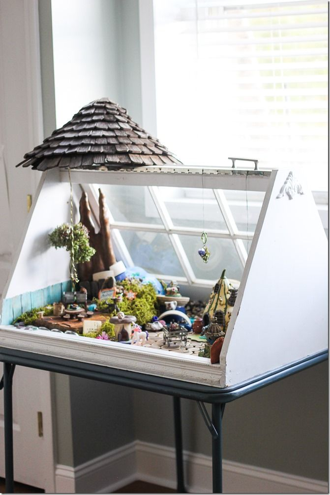 Your kids will go crazy for this fairy garden, constructed from an old wooden window. Get the tutorial at Unskinny Boppy. RELATED: How to Make a Magical Fairy Garden   - CountryLiving.com