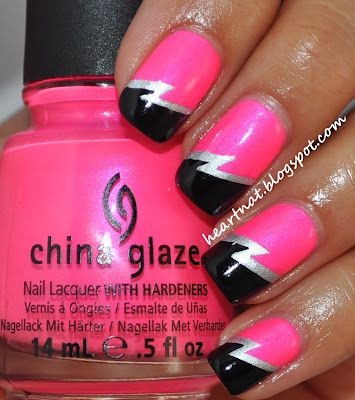 FAB!  Could do this with our Mega Neon Pink, Lite Silver and Jet Black Nail art Acrylic powders available from www.thenailartist.co.uk
