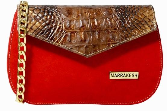 Clutch Nubuck Red & Coc brown; Italian Materials