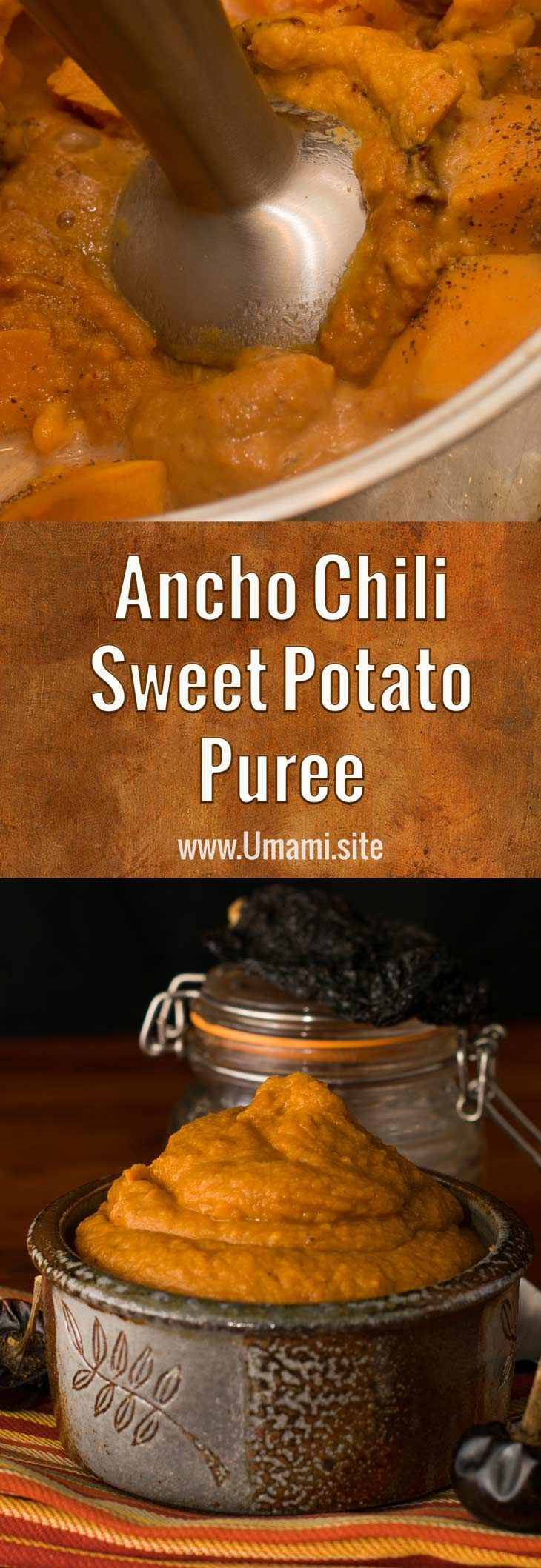 Ancho chilies, sweet potatoes, and honey come together to create a sweet potato puree with rich, complex Southwestern flavors. This sweet potato puree recipe is an excellent choice when you're looking for a side dish with interesting flavors and textures. #chilies #sweetpotatoes #sidedish #recipes