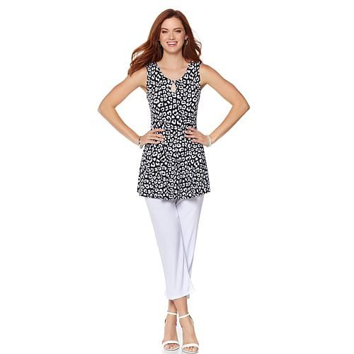 Slinky® Brand 2-piece Printed Sleeveless Tunic and Cropped Pant - Mosaic/Summernavy