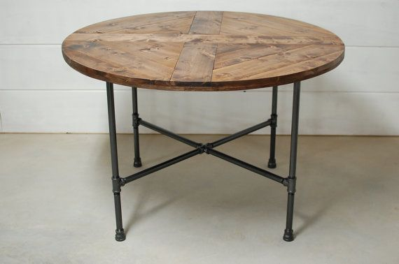 Round Wood Industrial Dining Table, Wood Furniture, Modern Kitchen Table, Kitchen Table, Loft Apartment Furniture - FREE Shipping