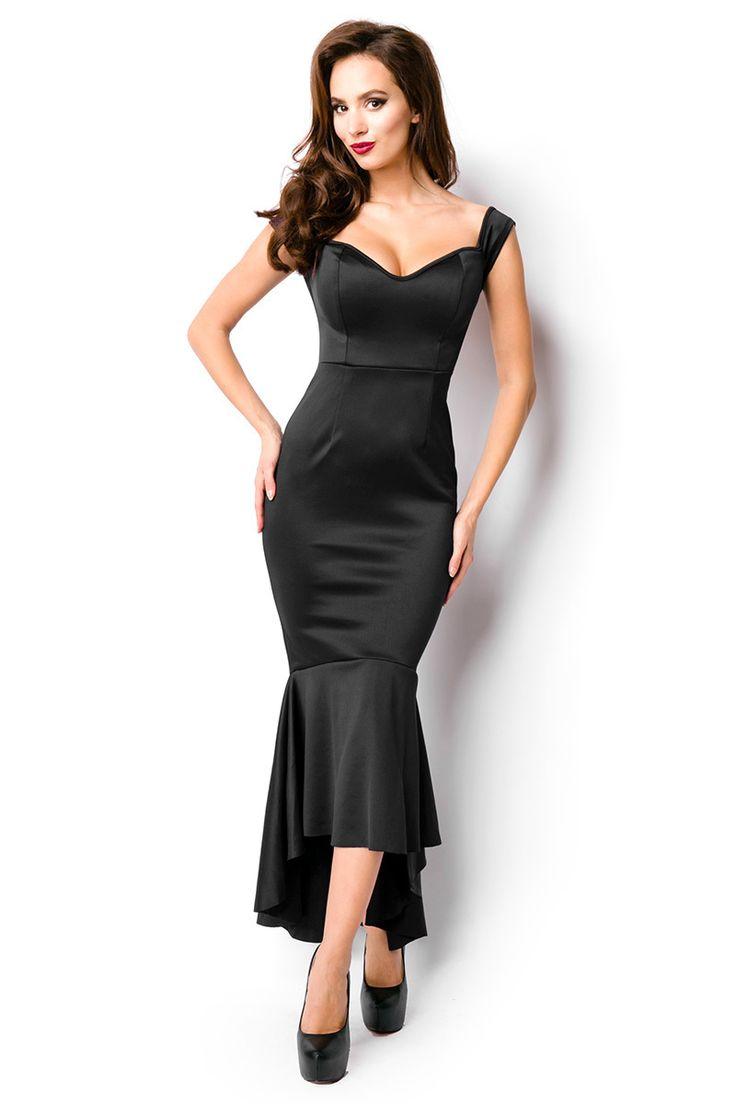 Deze mooie jurk heeft een zeemeerminmodel. De achterkant valt tot aan de enkels en valt geplooid. Dit item heeft off-shoulder mouwtjes