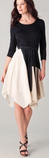 NWT Black/Ivory Color-Block Silk Belted Dress @ DKNY Donna Karan NY Sz.M/Sz.8 #DKNYDonnaKaranNewYork #ColorblockAssymetricalHemBeltedDress #CasualorParty