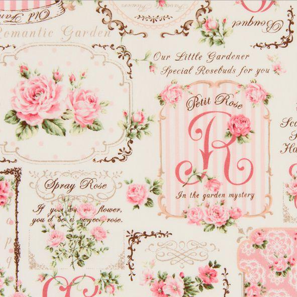 Bavlněná látka Růžičky s písmeny růžová Rose for You
