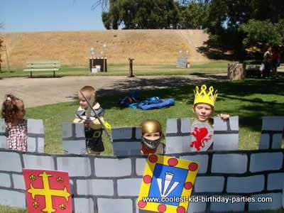 Knight and Princess Birthday Party: games- dragon egg hunt and joust game.