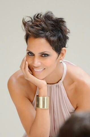 The Halle Berry rocking her gorgeous pixie as always.