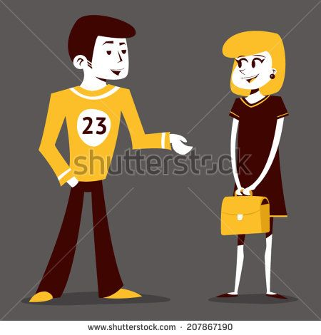 Meeting guy athlete and student girl talking pupil characters on Stylish Background Retro Cartoon Design Vector Illustration