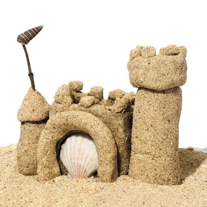 Sand castles made of sand-playdough!  We've made these with VBS and scout groups - kids love them!  It's a bit more work than regular play dough, but these are so much fun it is worth it.  Use an old frying pan because it will get scratched.