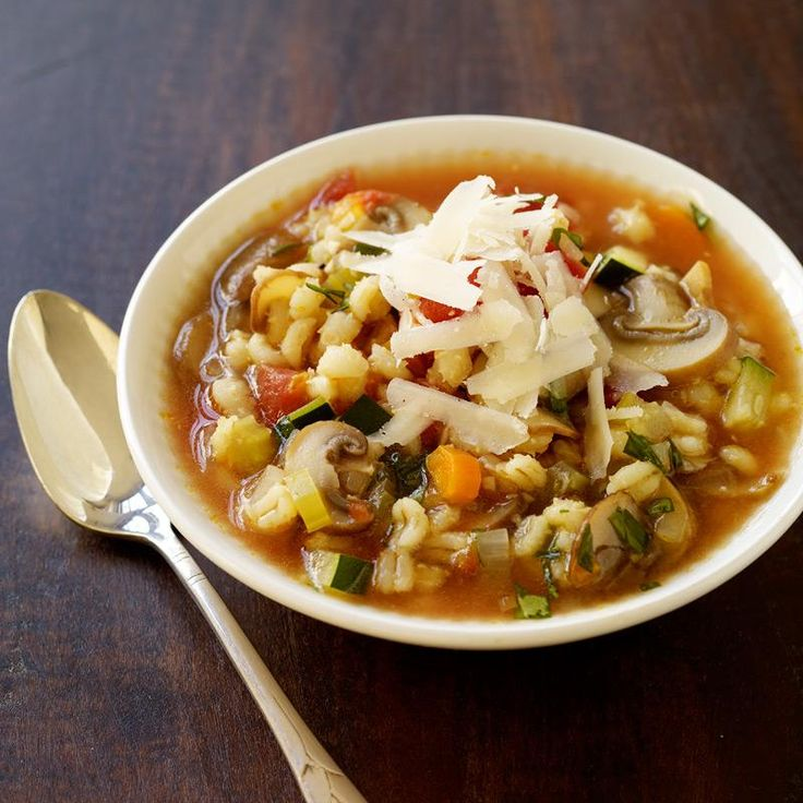 It's the first day of spring! While the weather waits to catch up, stay cozy with this succulent veggie barley soup.