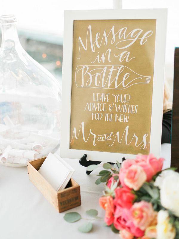 Message in a bottle wedding guest book idea. Photographer: MASTIN STUDIO via Style Me Pretty
