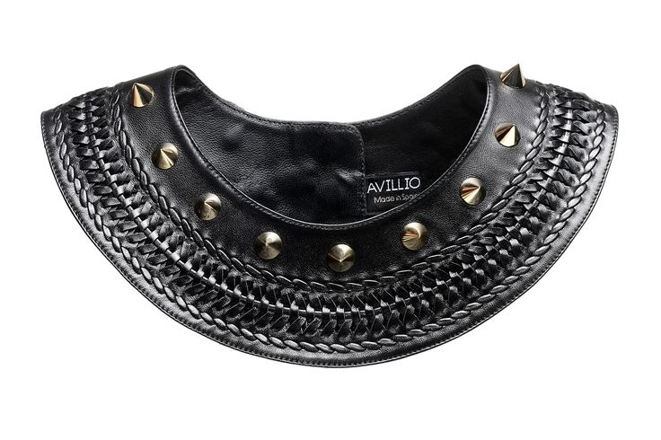 Claudia, hand woven leather necklace with studs