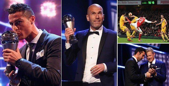 Cristiano Ronaldo won the men's award for the fourth time in five years while Lieke Martens was named best female player and Oliver Giroud won best goal.    So Ronaldo wins the Fifa player of the year award for the fourth time in five years. That's five awards apiece for him and Messi, the Argentinian's golden period coming when he won four in a row between 2009 and 2012.
