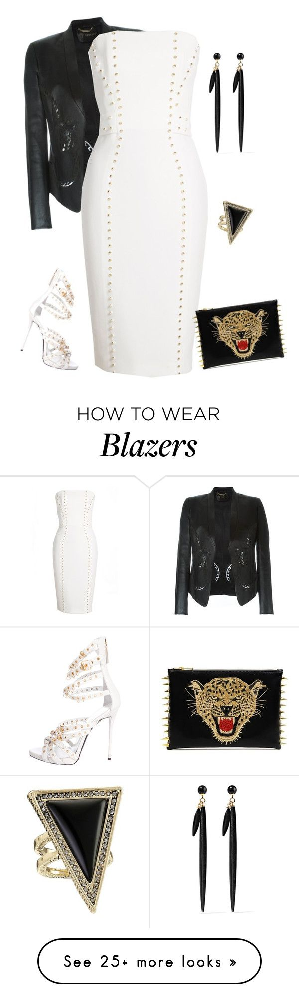 """outfit3804"" by natalyag on Polyvore featuring Versace, Giuseppe Zanotti, Isabel Marant and House of Harlow 1960"