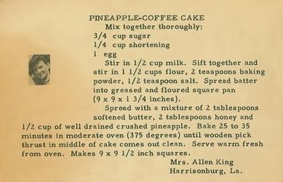 Pineapple Coffee Cake#geneabloggers #genealogy-try exchanging applesauce or other healthy exchange for the shortening
