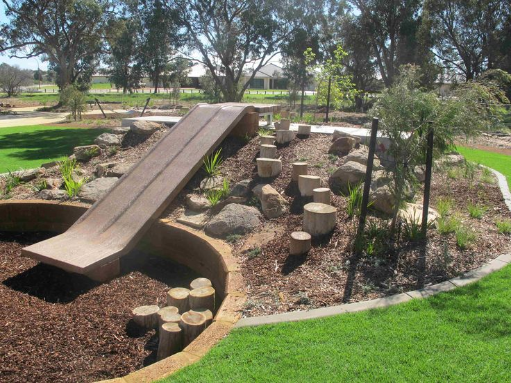 Natural playscape with slide patio garden and natural for Natural garden designs