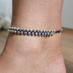"""Chaîne de pied bleu marine """"les petites perles"""""""