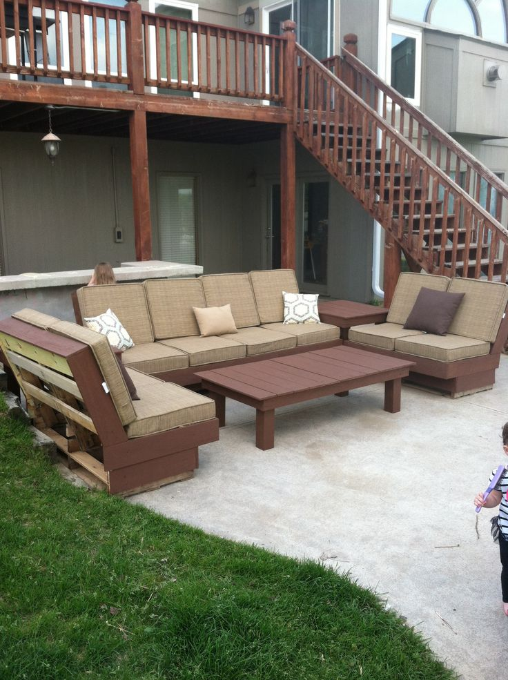 Pallet/wood Patio Furniture! Handmade, Painted With Weather Proof Deck  Paint. Cushions. Garden RidgeWood ...