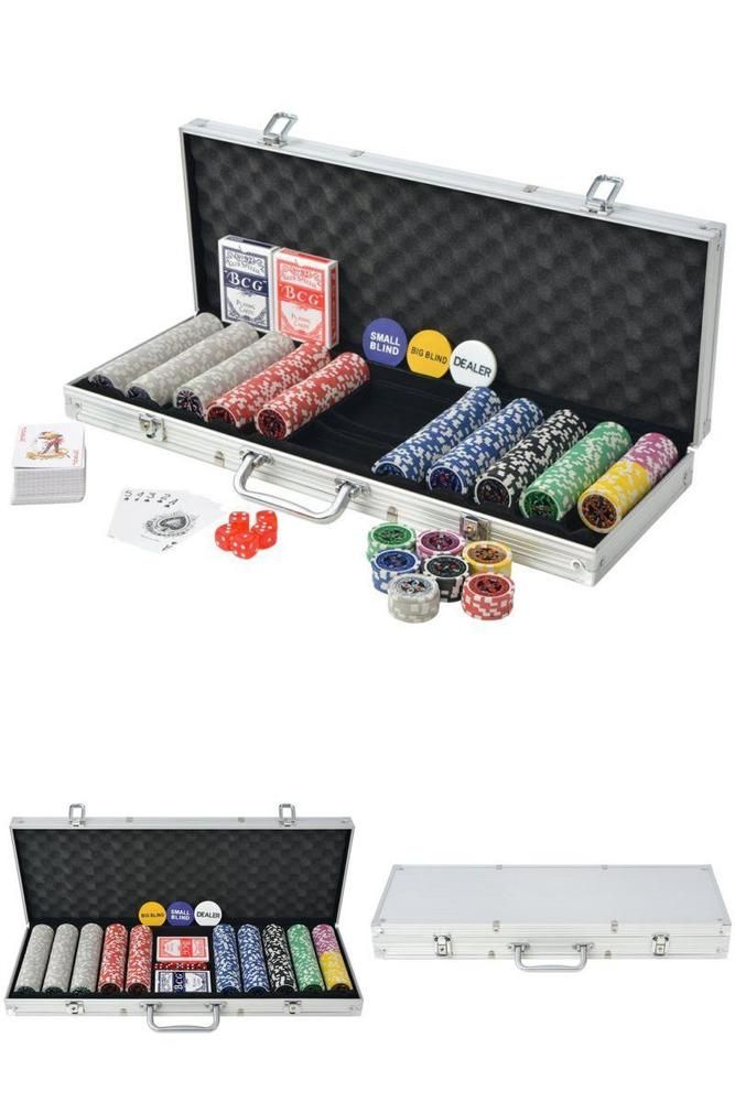 Poker Lazer Chip Set 500 Chips Playing Cards Game Dice Aluminum Storage Case