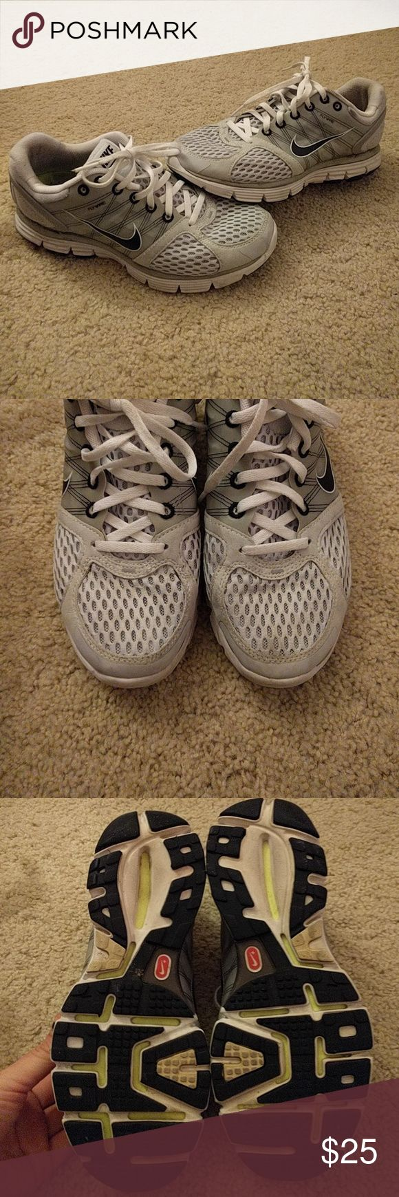 Nike Lunarglide 2 shoes Great condition for white shoes - some dirt stains ( shown above) as well as some scuff marks around the heel areas - never have washed these so both stain and scuffs may come out Nike Shoes Athletic Shoes