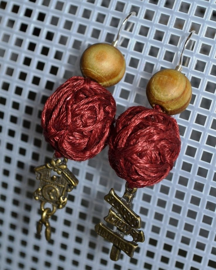 If you have no idea how to use remains of yarn :) Easy making earrings: wooden bead, small yarn ball and pendant, 2 inches length.  #fiberjewelry #earrings #lifehack #yarnjewelry #earrings #ecoearrings #woodenbead #itwasyarn