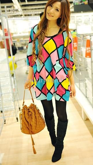 Hot Womens Fashion Sweat Girl Colorful Grid Tops Blouse Blue Color