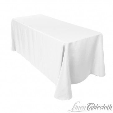 90 x 132 inch Rectangular Polyester Tablecloth White (borrowed from NLC)