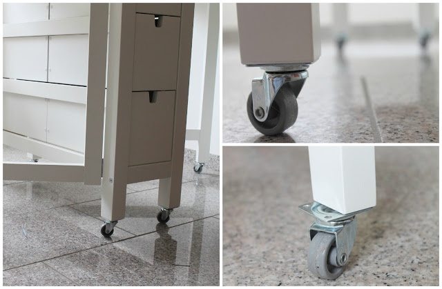 Add wheels to your craft or sewing table to make it easier to move around and a little taller, perfect height for cutting.