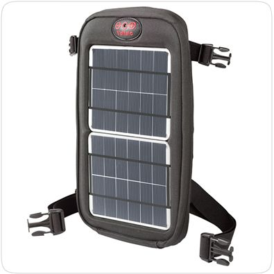 Voltaic Fuse 4W Solar Charger.  The Fuse 4W Solar Charger is a lightweight way to add solar and battery power to any bag. It connects in seconds to bags, tents, bicycles and pretty much anyplace else you might need solar power.