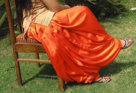 Maharani Orange Satin Silk Patiala Salwar