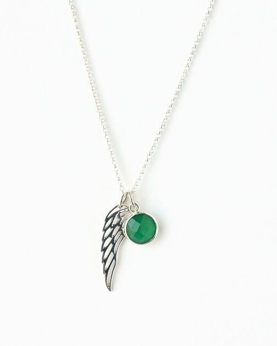 Miscarriage Remembrance Necklace with sterling silver angel wing and May's birthstone.  Miscarriage sympathy gifts by Blue Room Gems.