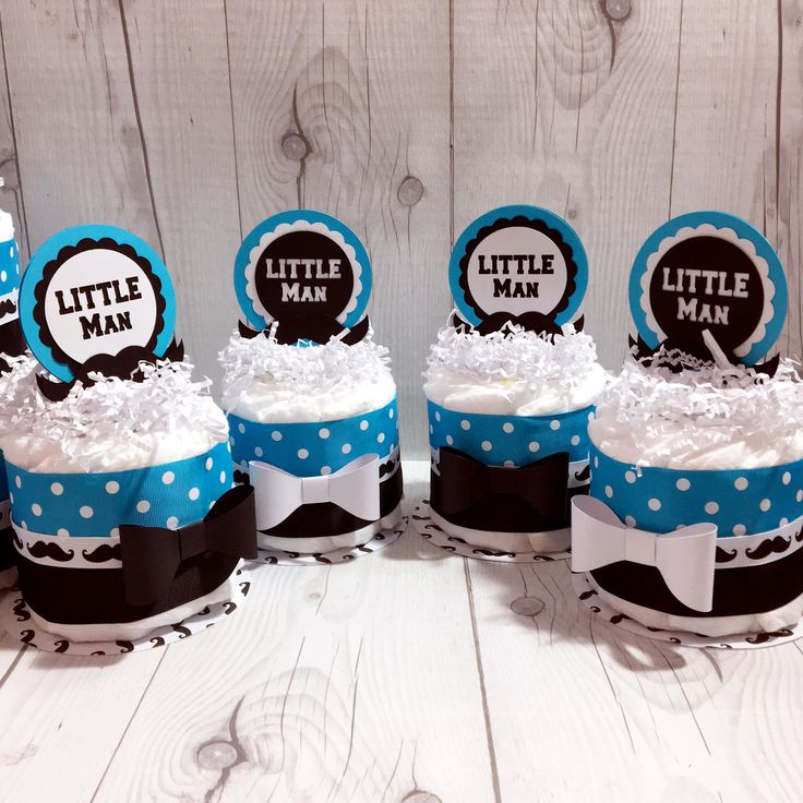 Blue & Black Little Man Mini Diaper Cake Centerpieces
