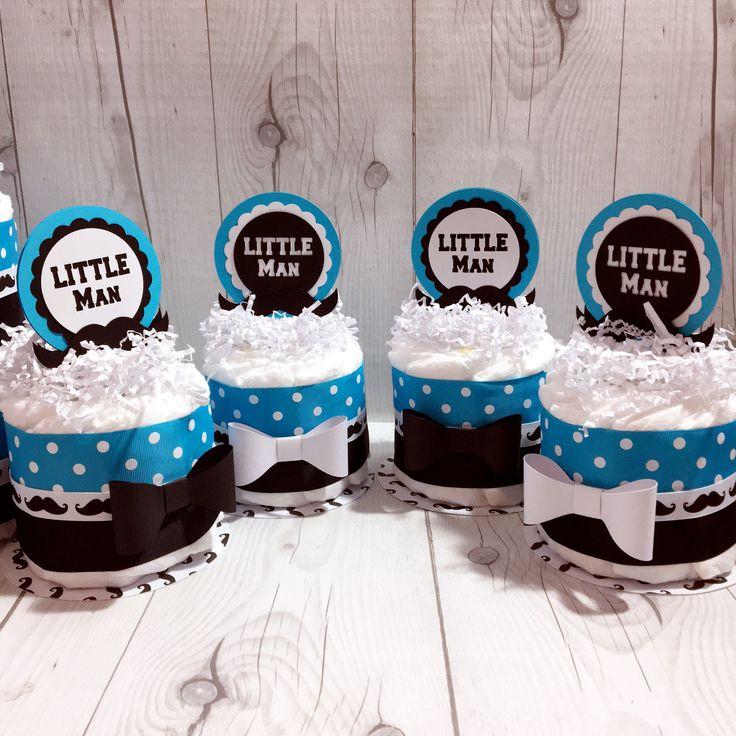 Blue U0026 Black Little Man Mini Diaper Cake Centerpieces