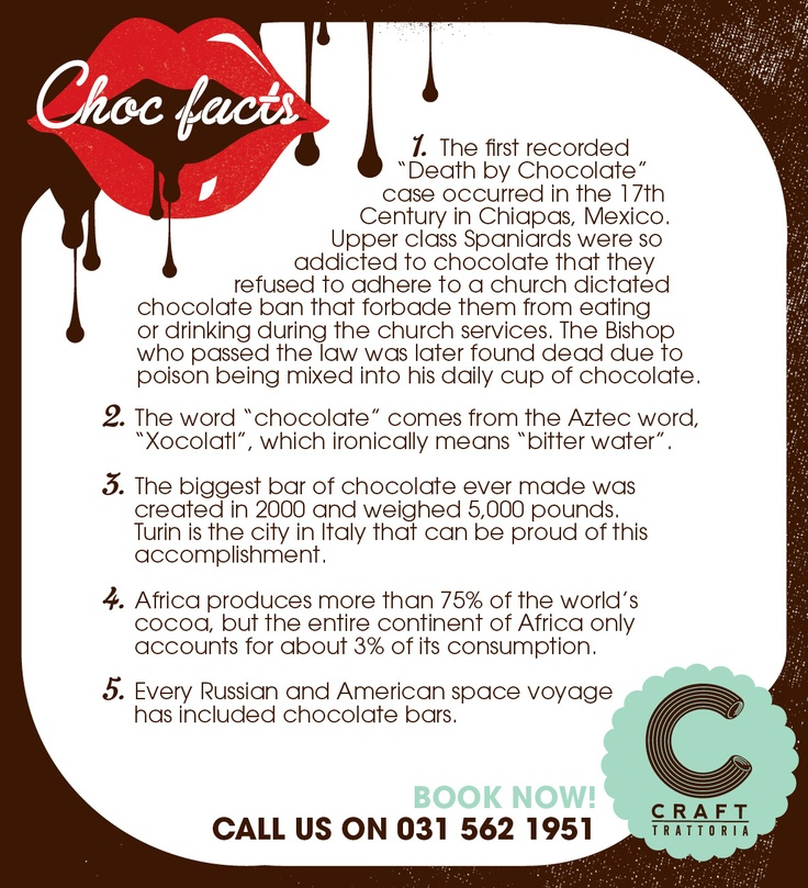 Craft Trattoria Easter lead up flyer. Chocolatefacts