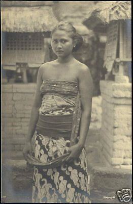 indonesia, BALI, Beautiful Young Native Girl 1930s RPPC