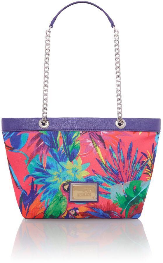 Love Moschino Multi coloured purple jungle print small tote bag ...