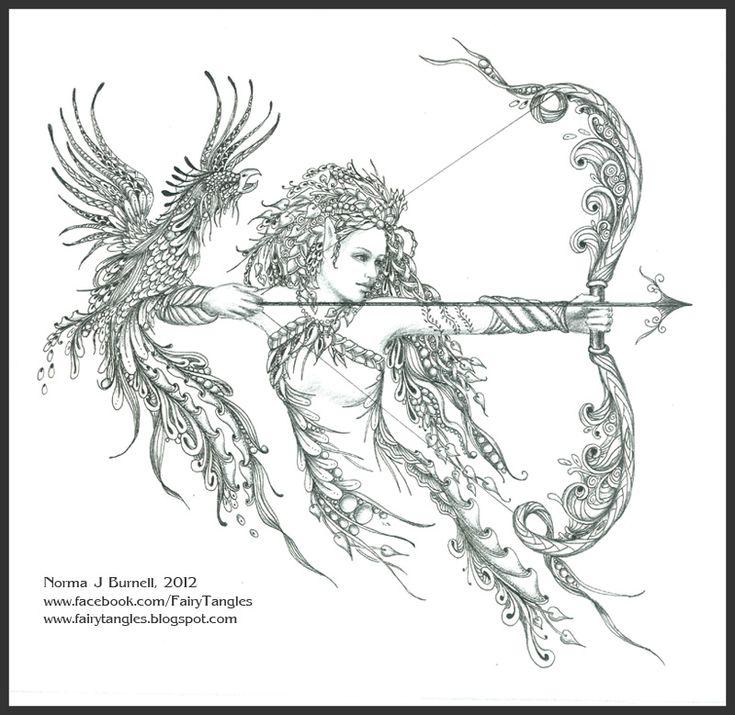 elf phoenix zentangle doodles by norma burnell 2012wonderwhiskerscom