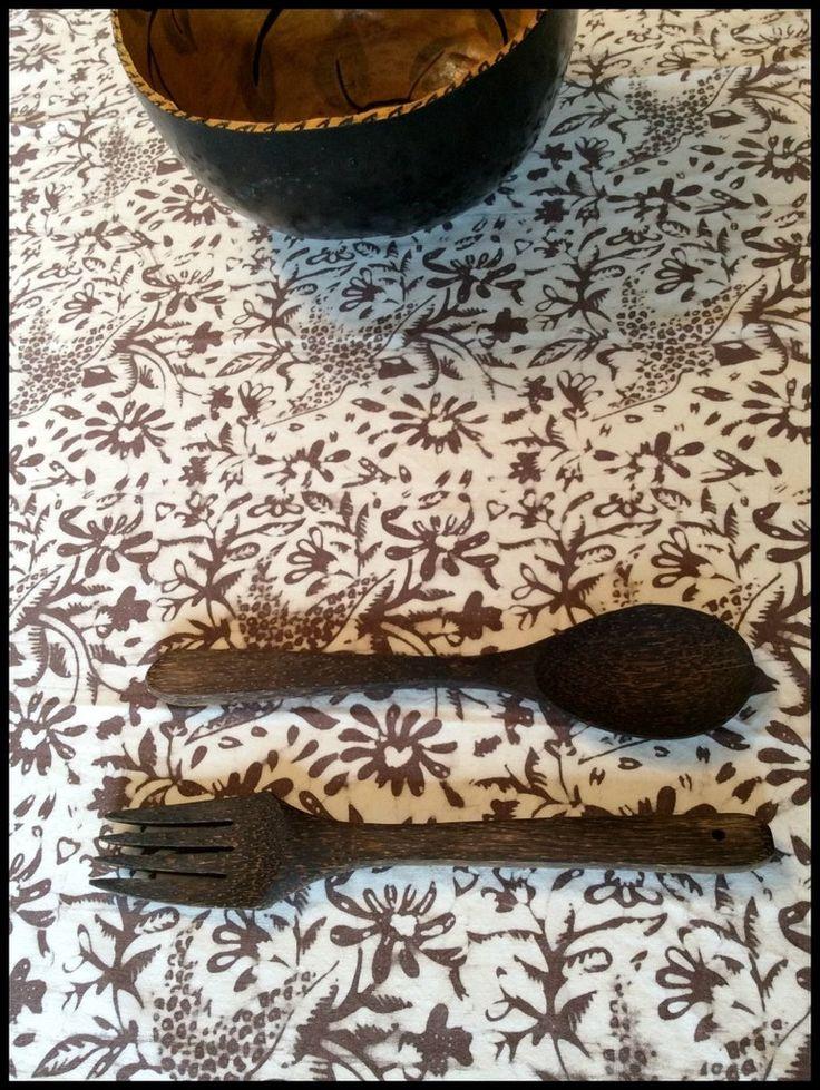 Natural dye #block print Table Linens. Textiil - Artisan fabrics & Modern global home decor.