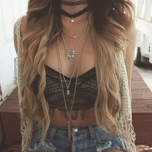 Boho outfit. Crochet bralette and layered necklaces. Festival outfit. Cute :)
