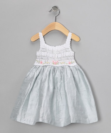 Take a look at this Off-White & Blue Crocheted Silk Dress - Infant & Girls by Victoria Kids on #zulily today!