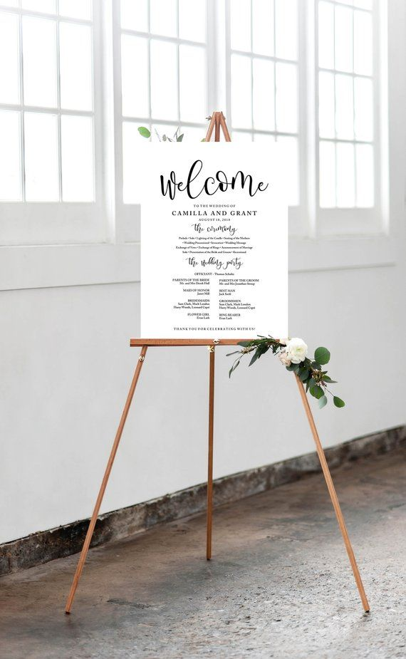 Wedding Program Sign Poster - Modern Wedding Welcome Sign - Editable PDF Template Instant Download - Lovely Calligraphy inv004