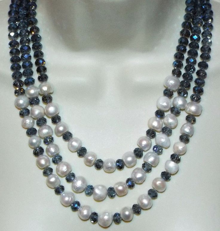Triple strand blue glass crystal & glass faux pearl NECKLACE costume jewelry #Unbranded #Statement