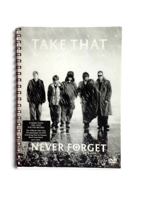 Here we have a handmade recycled notebook.  Created by myself using a DVD box from TAKE THAT - Never Forget  Contains approx 35 pages (70 sides) of